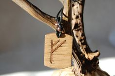 """Fehu rune necklace """"Blessing and prosperity"""" charm. Marquetry Mahogany & Oak wood by RunicJewellery on Etsy Marquetry, Runes, Blessing, Charms, Unique Jewelry, Magic, Handmade Gifts, Wood, Etsy"""