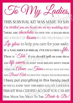 Adorable bridesmaid survival kit card!!