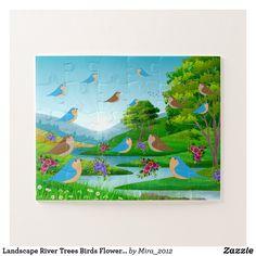 Landscape River Trees Birds Flowers Nature, Age 4 Jigsaw Puzzle #birdspuzzles #naturepuzzles #puzzlesfouryearolds #puzzlesage4 #landscapepuzzles #birdsflowerstreespuzzles