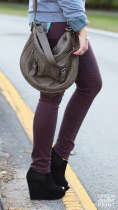Plum Skinnies + Black Wedges
