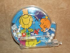 Mr Men Bagatelle Game Tin Back Working But Missing Clip On Stand