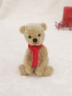 Miniature jointed bear - traditional style miniature mohair artist teddy bear with scarf by LakeDistrictTeddies on Etsy