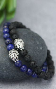 Men's stretchy beaded bracelet of lapis or lava beads depicts Buddha's calm countenance with a single stainless steel bead. Buddha Jewelry, Buddha Beads, Buddha Buddha, Bracelets For Men, Beaded Bracelets, Chakra Bracelet, Stone Beads, Artisan Jewelry, Jewelry Design