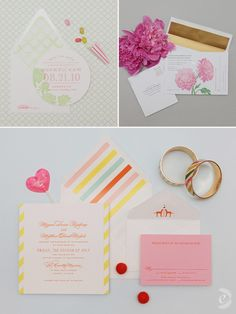 i <3 whimsy props in invitations - adorable pastel stripes and floral invitations