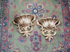 Pair of Vintage Shabby Chic Syroco Wall Pockets 1962 Fleur deLis by lookonmytreasures on Etsy