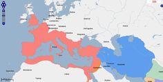 ➯ Ver en Pinterest: #105 #Mapa de Europa, Oriente Medio y África del Norte, Año 350.  Fuente: geacron.com