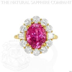 http://www.onlineshoppingshow.com/product_details.aspx?id=156 18K YELLOW GOLD, 5.87 CARAT UNHEATED OVAL PINK SAPPHIRE AND DIAMOND RING.