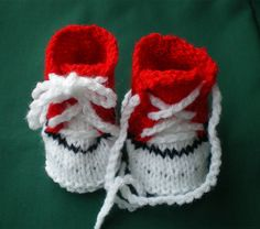 Photo Props Hand Knitted  Red n White Baby Booties,Sports Boots in Miniature  £6.99