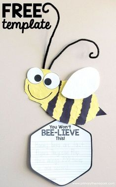 Free Printable Torn Paper Bee Craft for Kids Bee Writing Activities Insect Craft for Kids Bees For Kids, Bee Crafts For Kids, Preschool Crafts, Craft Kids, Craft Free, Hallway Displays, Classroom Displays, Classroom Themes, Classroom Activities