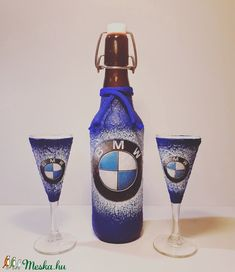 Bmw rajongóknak csatos dísz-és használati üveg talpas röviditalos poharakkal (Biborvarazs) - Meska.hu