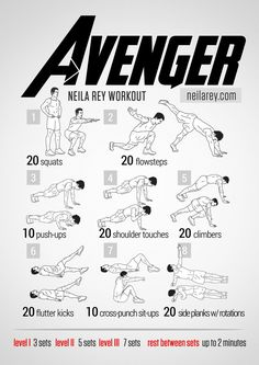 Avenger Workout. Neila Rey Workouts! She's got hundreds of workouts based on comic book, superhero, action movies, etc. They rock!