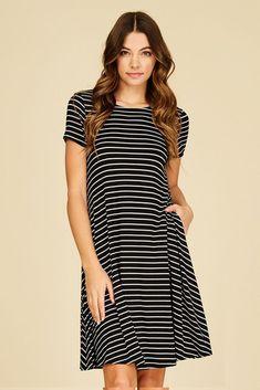 Hannah Stripe Midi Dress : Black/Ivory