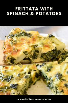 Baked frittata with spinach and potatoes - Italian Spoon Baked Frittata, Potato Frittata, Frittata Recipes, Baked Omelette, Vegetable Frittata, Healthy Breakfast Recipes, Brunch Recipes, Vegetarian Recipes, Cooking Recipes