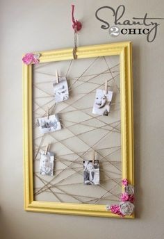 DIY~ Make a cool Memo/Photo Frame with a frame, fabric for the roses, some paint and jute (twine.)DIY~ Make a cool Memo/Photo Frame with a frame, fabric for the roses, some paint and jute (twine. Picture Frame Crafts, Old Picture Frames, Old Frames, Picture Boards, Decorate Picture Frames, Empty Frames Decor, Photo Frame Ideas, Diy Memo Board, Diy Cork Board