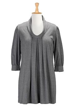 Cowl neck melange knit tunic