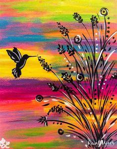 The Paint Mixer - Park City& & Salt Lake& Premier Paint and Wine Studi. - The Paint Mixer – Park City& & Salt Lake& Premier Paint and Wine Studio Cute Canvas Paintings, Diy Canvas Art, Acrylic Painting Canvas, Easy Paintings, Hummingbird Painting, Painting & Drawing, Lake Painting, Painting Inspiration, Flower Art