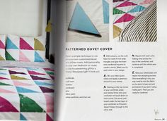 DIY Pattern Cover. Source: A Beautiful Mess Happy Homemade Home by Elsie Larson & Emma Chapman, photography by Jenny Kraemer