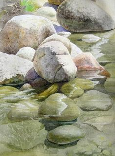 Rocks & Water - watercolors paintings - summer landscapes - nature - summer landscape - Full-frontal image, unframed