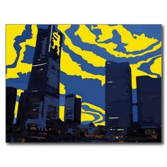 A beautiful painting of a sunrise over an urban city. This makes a great postcard for someone that loves the big city!
