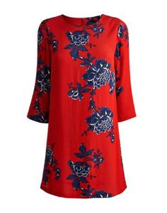 Joules Womens 3/4 Sleeve Tunic, Dark Red Peony.                     The simple, clean lines of this tunic have made it one our best-sellers.  With new hand-drawn prints it's sure to continue to be for some time.