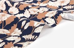 """Oxford Fabric for Quilts & Sewing 59.1 x 35.4""""(150*90cm) beige navy froral  #missoh"""