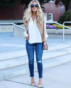 Destroyed denim, white or blush flowy top with nude lace up flats