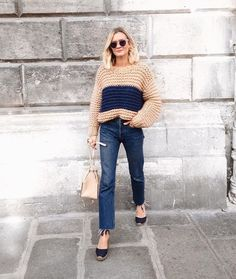 fluffy sweater with straight leg jeans