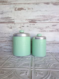 Vintage Metal Coffee & Tea Canister Set Hand by sorrythankyou79