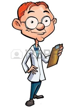 Cartoon of a nerdy doctor isolated on white
