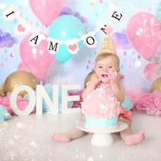Cake Smash photography Campbelltown Sydney - Smash the cake - Aqua and Pink cake. - laylas first birthday ideas - Smash Cake Girl, 1st Birthday Cake Smash, Happy First Birthday, Girl First Birthday, Baby Birthday, First Birthdays, Cake Smash Cakes, Cake Smash Backdrop, Cake Smash Photography