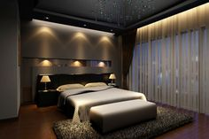 Elegant dark master bedroom design with dark hard wood floor, dark walls, built-in lighting and large dark rug