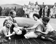 1960. Queen Elizabeth II and Prince Phillip with children Anne, Charles and baby Andrew at Balmoral, their elegant estate in Aberdeenshire, Scotland in 1960