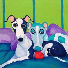 greyhound art Italian greyhound True love Best friends 8x10