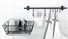FINTORP kitchen organisers, including a rail and a dish drainer