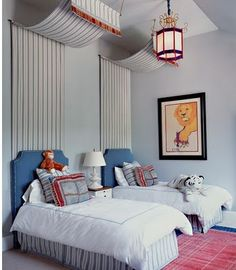 nice wall/ceiling treatment - an easy way to create a canopy above a bed.  Could use this in guest room
