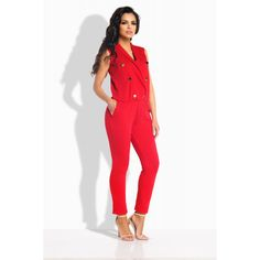 Salopeta dama rosie cu pantaloni trei sferturi,si butoni aurii Casual Chic Outfits, Jumpsuit, Street Style, Spandex, Toned Bodies, Dresses, Shopping, Fashion, Overalls