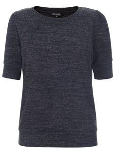 Bluzka damska bluzka krótki rękaw ciemnoszara  - SBK1971 luźna, z dekoltem, z marszczeniami - TOP SECRET - Odzieżowy sklep internetowy TOP SECRET