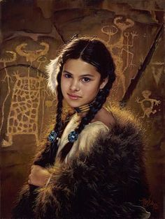 """Daughter Of The Wind River"" -Western and Native American Fine Art by Karen Noles Native American Children, Native American Beauty, American Indian Art, Native American History, American Indians, Native American Paintings, American Artists, Native Indian, Native Art"