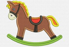 Rocking Horse Applique Embroidery Design Instant Download