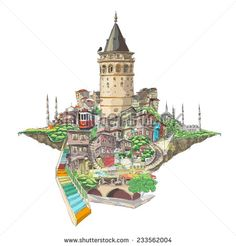 vector drawing istanbul galata tower view - stock vector