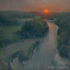 """Summer Sun Over the Illinois"" by John Porter Lasater IV of Siloam Springs, Arkansas - LPAPA's ""Artist Member of the Month"" for January Paintings I Love, Love Painting, Light Painting, Beautiful Paintings, Oil Paintings, Nocturne, Fine Arts Degree, Salon Art, Bachelor Of Fine Arts"