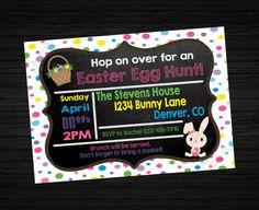 Polka Dot Easter Egg Hunt Printable Invitation