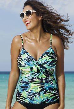 1b8154168e2 Shore Club Margarita Plus Size Underwire Tie Front Tankini Top at in sizes  up to Shore Club s underwire tankini tops are also available as shortini