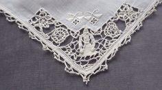"Set 10 Large Linen Dinner Napkins w Figural Reticella Lace Girl 20"" x 19"" | eBay"