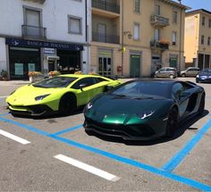 Lamborghini Aventador S painted in Verde Hydra and a Lamborghini Aventador Super Veloce Coupe painted in Verde Scandal  Photo taken by: @the_luxurious_cars on Instagram   Owned by: @the_luxurious_cars (His father) on Instagram