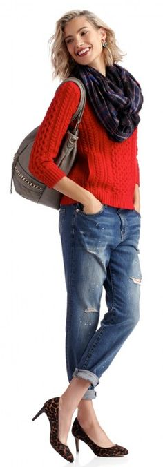 Red sweater, plaid scarf with jeans