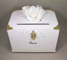 White & Gold Wooden Wedding Card Box Trunk, Card Holder, Money Box    Dazzling Graces Wooden Trunk Card Boxes are beautifully decorated, romantic