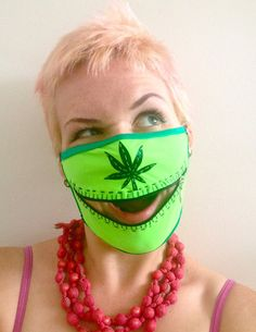 Neon Maryjane zipper mask for Burning Man, raves, stoners, and techno hippies by madebyjulianne, $36.00