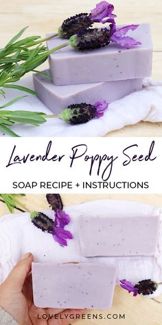 Poppy Seed & Lavender Soap Recipe Poppy Seed & Lavender Soap Recipe: a modern variation of classic lavender with an earthy base note and decorated with dried flowers and poppy. Contains complete DIY instructions Handmade Soap Recipes, Soap Making Recipes, Handmade Soaps, Diy Soaps, Diy Beauté, Savon Soap, Green Soap, Lavender Soap, Lotion Bars