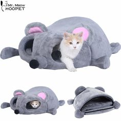 Pet Dog Cat Bed Grey Mouse Shaped nest Cushion Soft Sleeping Bag Kitten Cozy Cave Sphynx Snuggle Sack Kitty Tunnel Cuddle Pouch